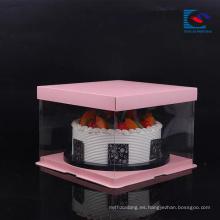 Caja de empaquetado de la torta de la boda / del cumpleaños del papel de arte de la categoría alimenticia de la muestra libre con la ventana del PVC