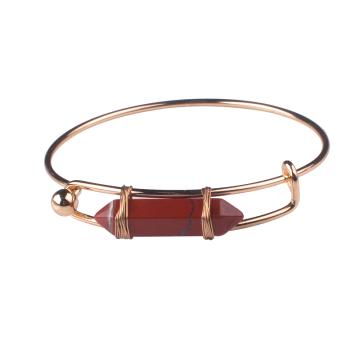 Handmade Gold Plating Bangle Jewelry Hexagonal Red Jasper Stone Bangle