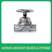 Vannes à membrane sanitaire Extrémité de serrage du volant en acier inoxydable