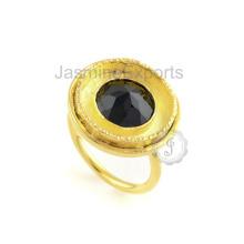 Bague en argent sterling fabriquée à la main en or jaune noir