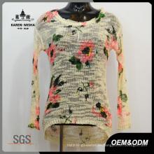 Suéter de punto de flores de las señoras