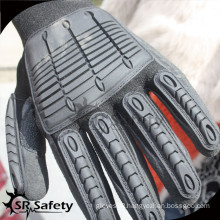 SRSAFETY seamless liner sandy nitrile coated nitrile glove/impact resistant glove