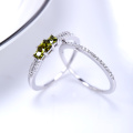 2017 new fashion Lovers ring 925 Sterling silver ring with green zircon