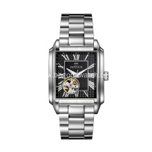 skeleton automatic stainless steel wrist watch