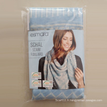 Polyester Voile Sky-Blue Geometry Big Square Scarf Environ 120 * 120cm