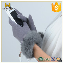 Wholesale Womens Touch screen Wool Gloves with rabbit fur and string