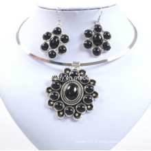 Black Stone Flower, Glory Attractive, Trendy Lady Necklace Set (XJW12598)