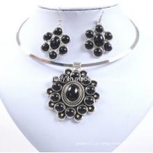 Flor de pedra preta, glória atraente, moda colar de senhora conjunto (xjw12598)
