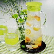 Cribado de jarra de vidrio de Borosilicato transparente con cubierta de silicona con mango