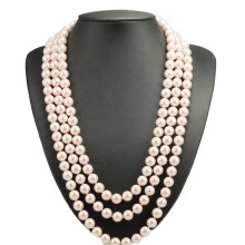 Simple Style Long Pearl Necklace Multistrand