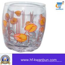 Vaso de cristal Copa de vidrio transparente con flor de Decal