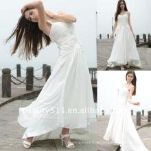 Astergarden verdadera rodaje Spaghetti correas de gasa blanca una línea de vestido de novia real AS113