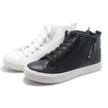 Side Zipper Classical Leather Women Men Casual Rubber High Shoes