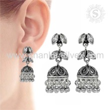 Silver Jewelry White CZ Earring Sterling Silver Jewelry Gemstone Jhumka Earring Exporter