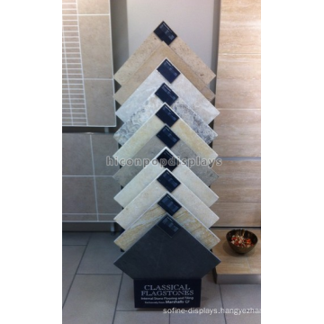 Practical Floorstanding Black Metal Stone Products Showroom Display Stands For Tiles Exhibitions
