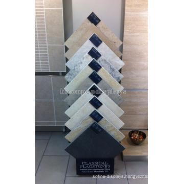 Practical Floorstanding Black Metal Stone Products Showroom Display Stands For Tiles Exhibitions