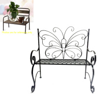 Functional Metal Linellae Butterfly Bench Double Flowerpot Stand Craft