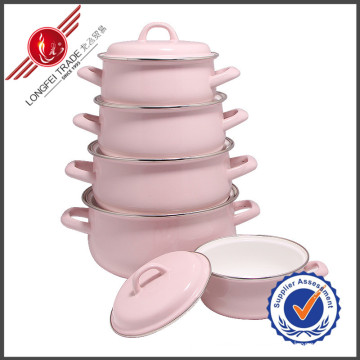 Pink Plain Kitchenware Eco-Friendly Enamel Cookware Set