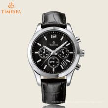 Relógio de aço de quartzo de alta qualidade com relógio de couro 72440