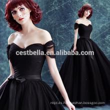 De hombro vestido de noche negro vestido de bola de boda negro 2017