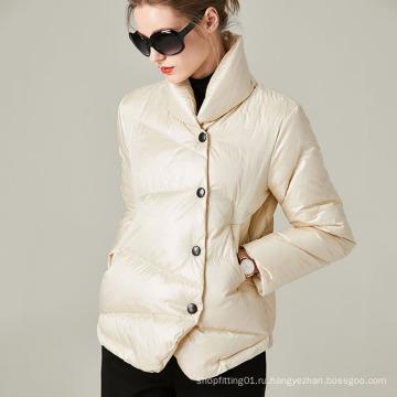 Зимнее женское пуховое пальто с коротким воротником-стойкой на заказ