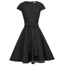 Belle Poque Retro Vintage Negro Cap manga de cuello redondo Swing fiesta vestido de fiesta BP000361-1