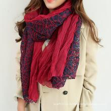 Мода женщин хлопок кружево Весна Шелковый шарф (YKY1139)