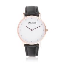Reloj de pulsera de moda con 12 diamantes de imitación como marcadores
