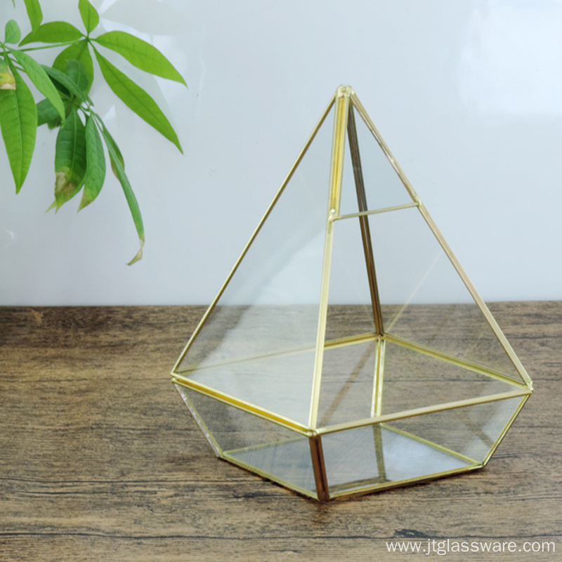 Pentahedron Pyramid Shape Glass Terrarium Decor