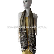 Woven scarf with yarn dye and marl effect, polyester, cotton and cashmere, using fancy yarn