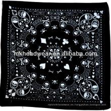 Cráneo, hueso y paisley patrón impreso hermoso 100% algodón bandana se puede usar para una serie de eventos