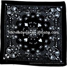 Crâne, os et paisley beau motif imprimé 100% coton bandana peut être porté pour un certain nombre d'événements