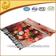 Hot Sale Moda chinesa estilo impresso e duas camadas Padrão lenços de seda em Trukey
