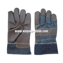 Luva de trabalho de couro de mobília de palma cheia de cor escura - 4028