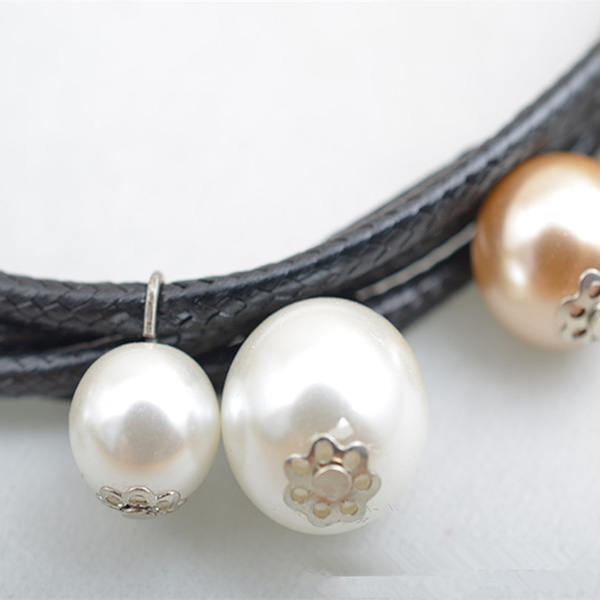 Leather Rope Multi Strand Pearl Necklace