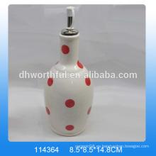 Botellas de aceite de cerámica del diseño de moda con la pintura roja del punto