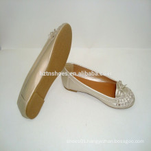 Spring 2015 fashion golden PU bowknot ballerina shoe Lady Flat Shoes