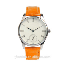 Unisex Men Woman Ultra- thin Gold Silver Case Watch Pu Leather Wrist Watch