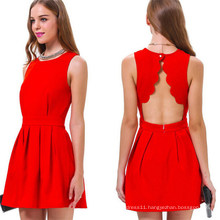 Hot Sale Fashion Backless Sleeveless Sexy Red Party Dress (50148)