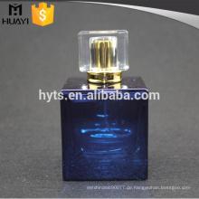 100ml blaue Malerei quadratische Glasparfümflasche mit Pumpe und Kappe