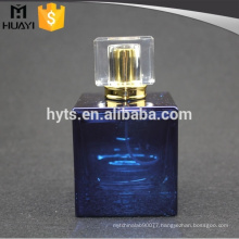 100ml blue painting square glass perfume bottle with pump and cap