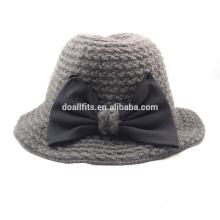 2015 nuevo estilo hizo punto sombrero del cubo con el arco lindo