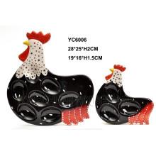 Bandeja de Huevo de Cerámica Diseño de Gallo