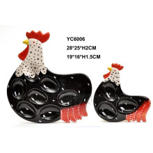 Ceramic Egg Tray Rooster Design