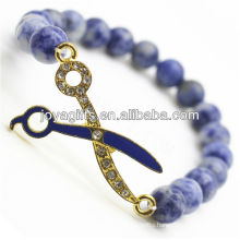 Natural Gemstone Sodalite Handmade With Diamante Scissors Bracelet