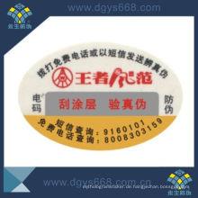 Sicherheit Digital Code Anti-Fake Bunte Druck Aufkleber Custom Design