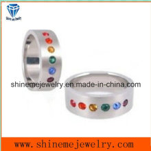 Jewelry Ring Stainless Steel CZ Ring with Colors Stone