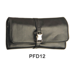 Black makeup satin case with metal belt