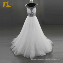 ED Bridal 2017 Elegant Stunning Crystal Cap Sleeve Lace-Up Back Beaded Organza Alibaba Wedding Dress