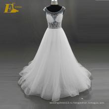 ЭД Свадебные 2017 элегантный потрясающие Кристалл Cap рукавом кружева назад органзы бисером свадебное платье Алибаба